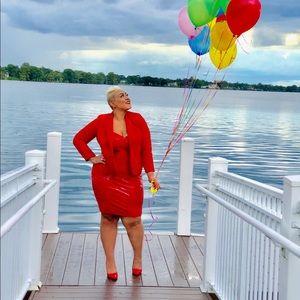 Fashionova red latex dress
